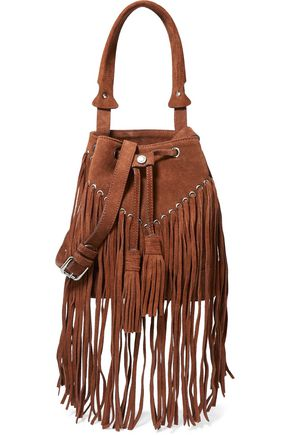 SANDRO H15 Adula fringed suede shoulder bag