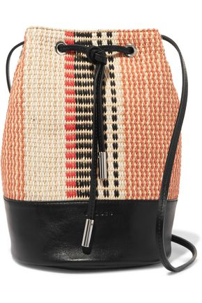 SANDRO Angel leather-trimmed woven cotton and raffia bucket bag