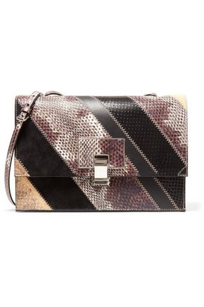 PROENZA SCHOULER Paneled suede, snake-effect and smooth leather shoulder bag