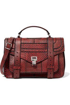 PROENZA SCHOULER PS1 Medium patent leather-trimmed elaphe shoulder bag