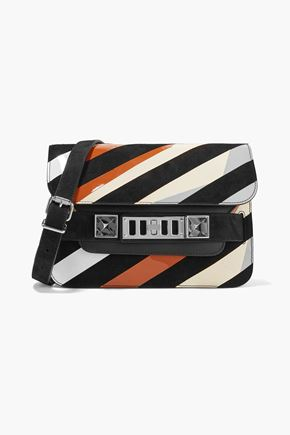 PROENZA SCHOULER PS11 Mini Classic paneled suede, smooth and patent-leather shoulder bag