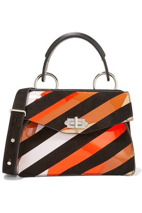 PROENZA SCHOULER Hava small striped suede and patent-leather shoulder bag