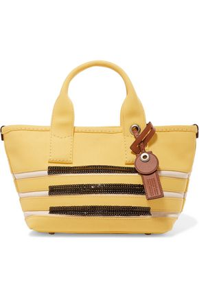 MARC BY MARC JACOBS Small embellished striped cotton tote