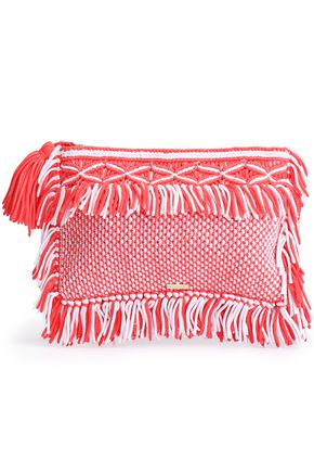 MELISSA ODABASH Two-tone fringed woven clutch