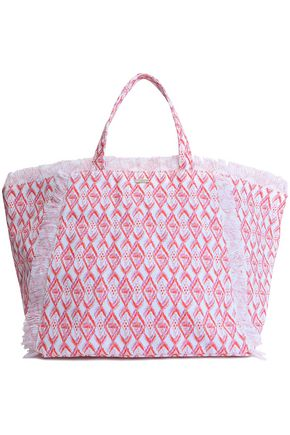 MELISSA ODABASH Frayed printed canvas tote