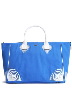 MELISSA ODABASH Leather-trimmed embroidered canvas tote
