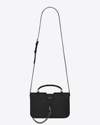 SAINT LAURENT Charlotte D medium charlotte messenger bag in black crocodile embossed leather  f
