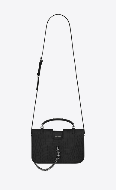 SAINT LAURENT Charlotte Woman medium charlotte messenger bag in black crocodile embossed leather a_V4