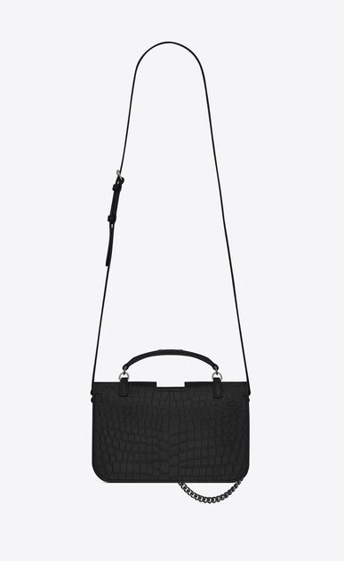SAINT LAURENT Charlotte D medium charlotte messenger bag in black crocodile embossed leather  b_V4