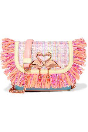 SOPHIA WEBSTER Claudie fringed tweed and leather shoulder bag