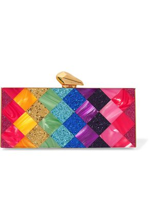 KOTUR Levin glittered marble-effect Perspex® box clutch