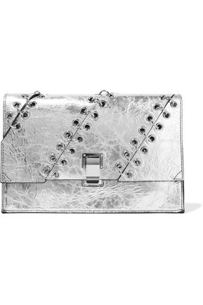 PROENZA SCHOULER Lunch Bag embellished metallic cracked-leather clutch