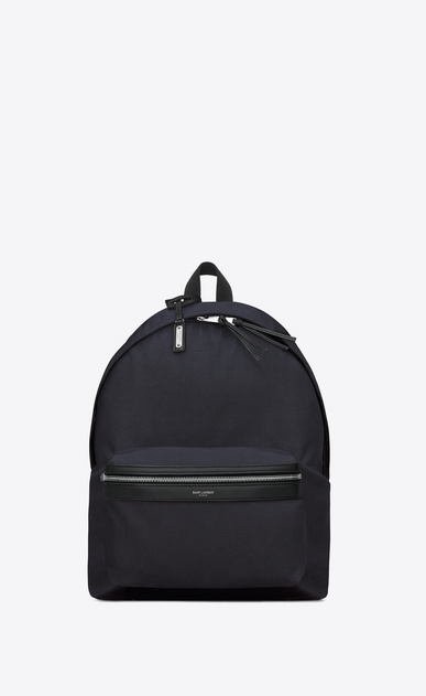 SAINT LAURENT Backpack Man classic city backpack in navy blue nylon canvas and black leather a_V4