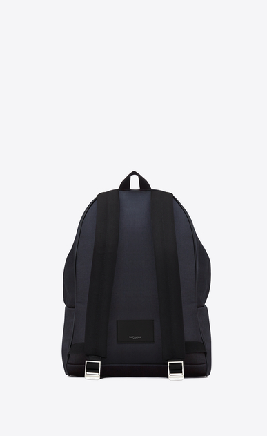 SAINT LAURENT Backpack Man classic city backpack in navy blue nylon canvas and black leather b_V4