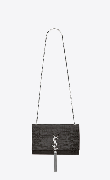 SAINT LAURENT MONOGRAM KATE WITH TASSEL Woman Medium KATE chain bag tassel in mouse gray crocodile-embossed shiny leather a_V4