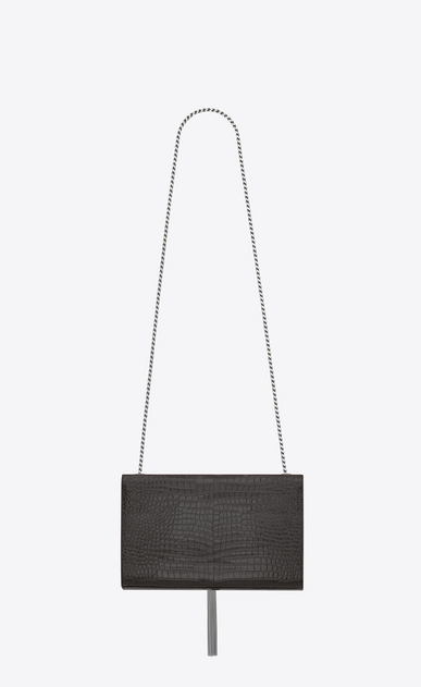 SAINT LAURENT MONOGRAM KATE WITH TASSEL Woman Medium KATE chain bag tassel in mouse gray crocodile-embossed shiny leather b_V4