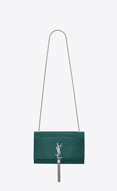 SAINT LAURENT MONOGRAM KATE WITH TASSEL D Medium KATE chain bag tassel in water green crocodile embossed shiny leather a_V4
