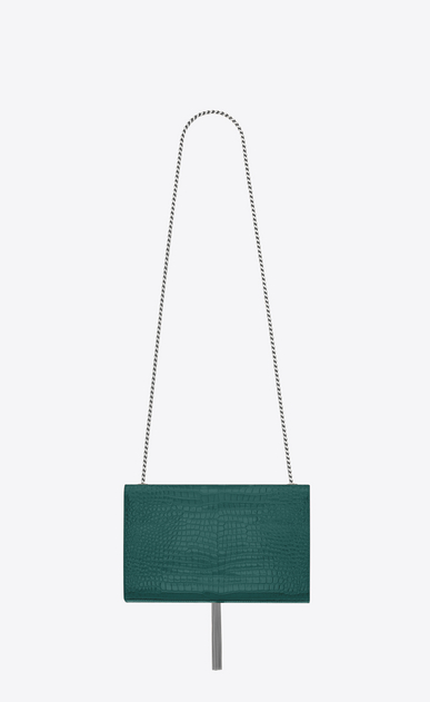 SAINT LAURENT MONOGRAM KATE WITH TASSEL D satchel medium à pompon KATE en cuir brillant embossé façon crocodile vert d'eau b_V4