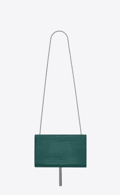 SAINT LAURENT MONOGRAM KATE WITH TASSEL D Medium KATE satchel tassel in water green crocodile embossed shiny leather b_V4