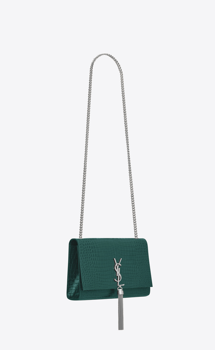 Zoom  Medium KATE chain bag tassel in water green crocodile embossed shiny  leather 35fe3d9d22678