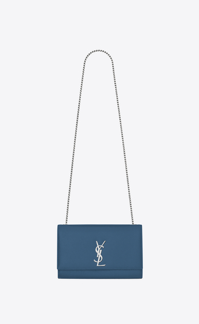 SAINT LAURENT MONOGRAM KATE D Satchel medium KATE en cuir texturé bleu denim a_V4