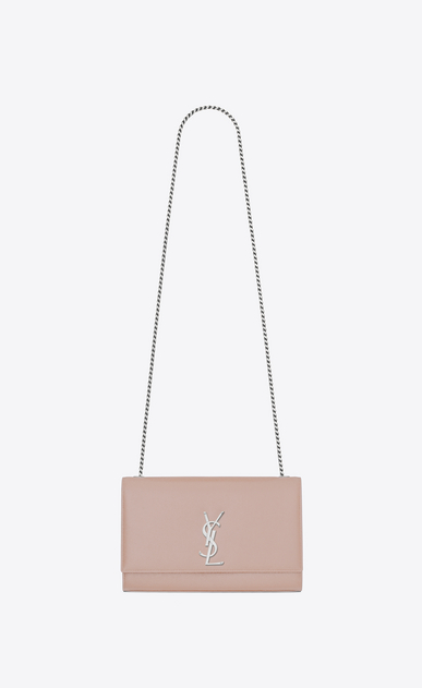 SAINT LAURENT MONOGRAM KATE D Medium KATE chain bag in pink textured leather a_V4