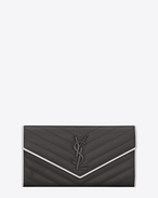 SAINT LAURENT Monogram Matelassé D Large MONOGRAMME flap wallet in asphalt gray and white textured matelassé leather f