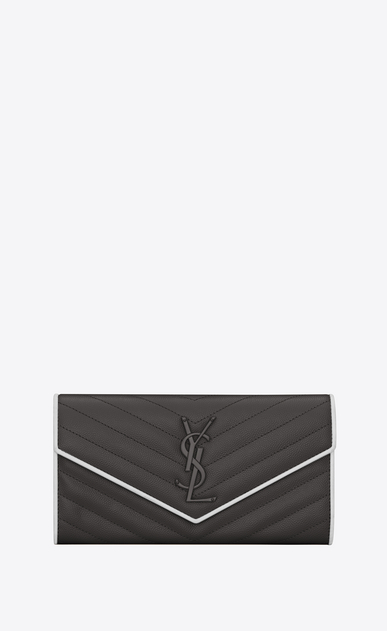 SAINT LAURENT Monogram Matelassé D Large MONOGRAMME flap wallet in asphalt gray and white textured matelassé leather a_V4