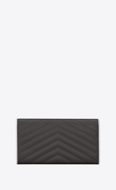 SAINT LAURENT Monogram Matelassé D Large MONOGRAMME flap wallet in asphalt gray and white textured matelassé leather b_V4