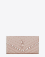 SAINT LAURENT Monogram Matelassé D Large MONOGRAMME flap wallet in pink and white textured matelassé leather f