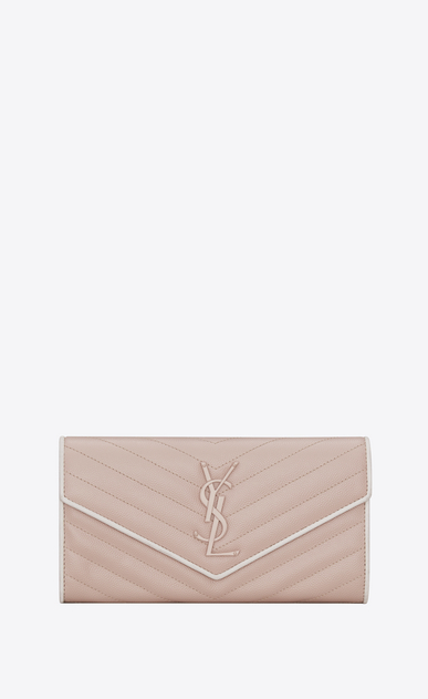 SAINT LAURENT Monogram Matelassé D Large MONOGRAMME flap wallet in pink and white textured matelassé leather a_V4