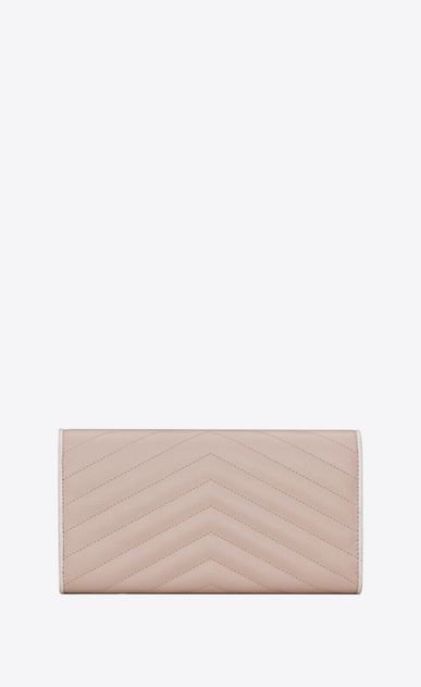 SAINT LAURENT Monogram Matelassé D Large MONOGRAMME flap wallet in pink and white textured matelassé leather b_V4