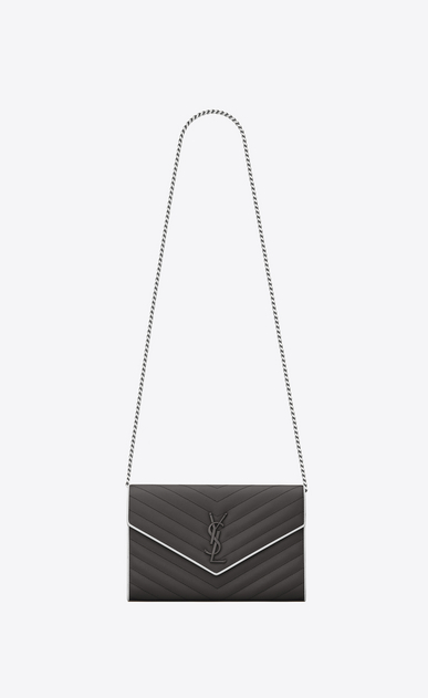 SAINT LAURENT Matelassé chain wallet D MONOGRAMME chain wallet in asphalt gray and white textured matelassé leather a_V4