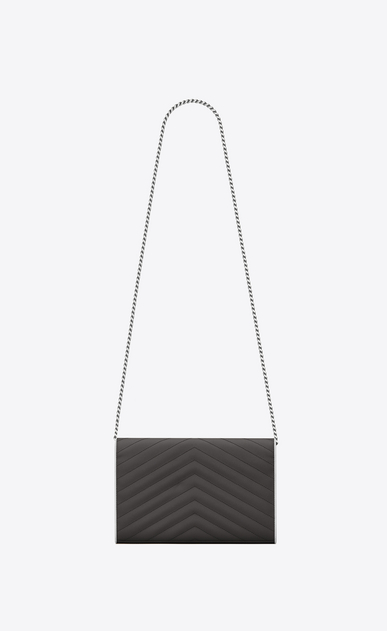 SAINT LAURENT Matelassé chain wallet D MONOGRAMME chain wallet in asphalt gray and white textured matelassé leather b_V4