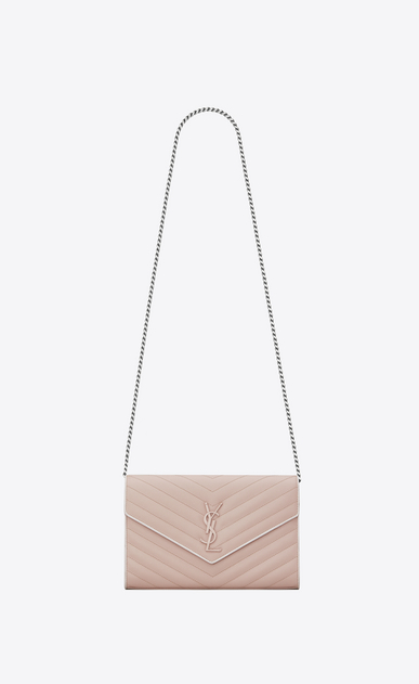 SAINT LAURENT Matelassé chain wallet D MONOGRAMME chain wallet in pink and white textured matelassé leather a_V4