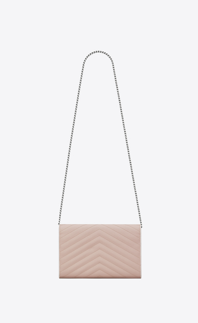 SAINT LAURENT Matelassé chain wallet D MONOGRAMME chain wallet in pink and white textured matelassé leather b_V4