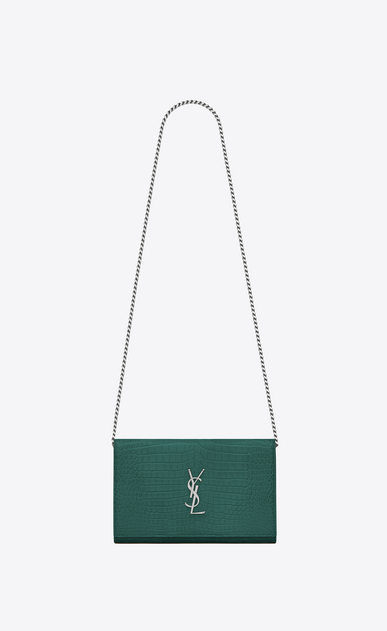 SAINT LAURENT Classic Chain Wallet D MONOGRAMME chain wallet in water green crocodile -embossed shiny leather a_V4