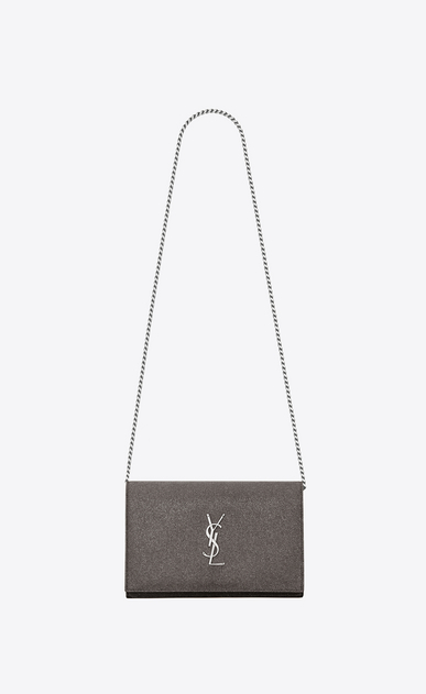 SAINT LAURENT Classic Chain Wallet D MONOGRAMME chain wallet in anthracite metallic fabric a_V4