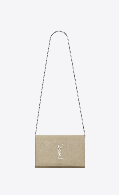 SAINT LAURENT Classic Chain Wallet D MONOGRAMME chain wallet in gold-colored fabric a_V4