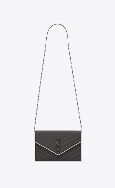 SAINT LAURENT Mini bags Enveloppe Woman envelope wallet with chain in pink and white textured quilted leather V4