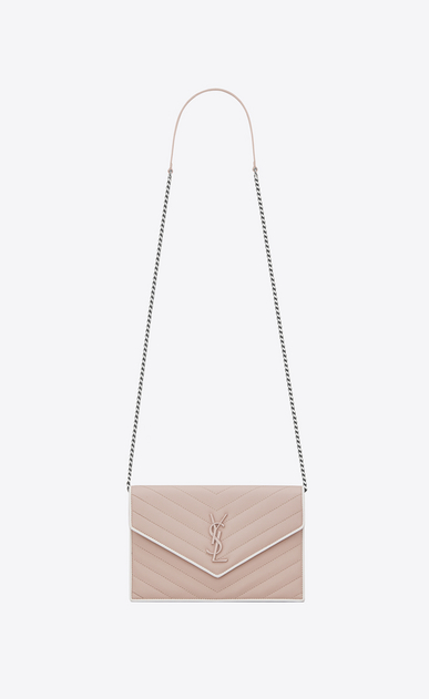 SAINT LAURENT Mini bags Enveloppe Woman MONOGRAMME envelope wallet with chain in pink and white textured quilted leather V4