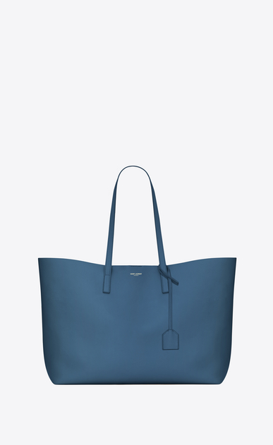 SAINT LAURENT Shopping Saint Laurent E/W D SHOPPING bag in denim blue leather a_V4