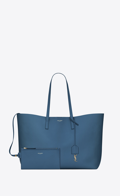 SAINT LAURENT Shopping Saint Laurent E/O D Sac shopping en cuir bleu denim b_V4
