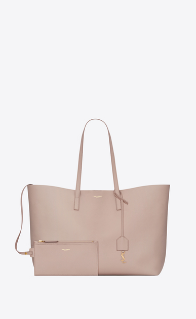 SAINT LAURENT Shopping Saint Laurent E/O Femme Sac shopping en cuir rose b_V4