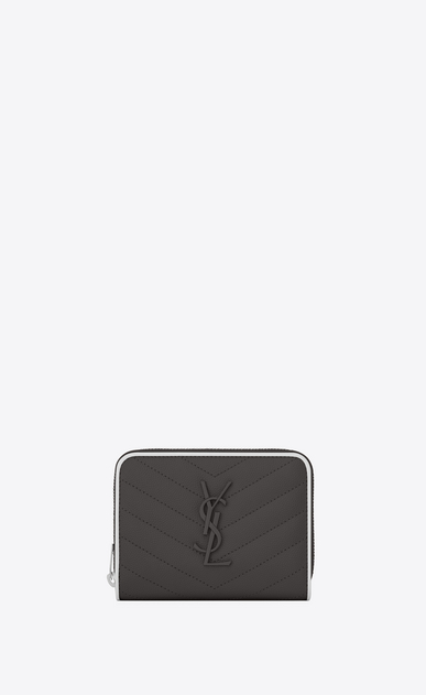 SAINT LAURENT Monogram Matelassé Woman compact monogramme zip around wallet in asphalt gray and white textured quilted leather a_V4