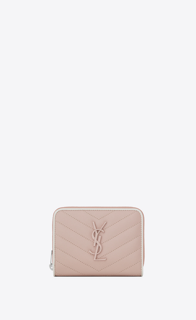 SAINT LAURENT Monogram Matelassé Woman compact zip around wallet in pink and white textured quilted leather a_V4