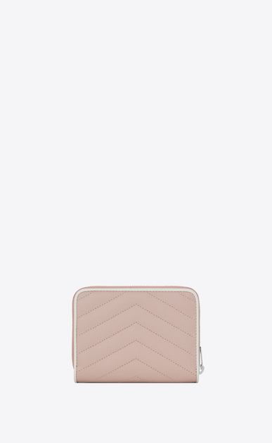 SAINT LAURENT Monogram Matelassé Woman compact zip around wallet in pink and white textured quilted leather b_V4