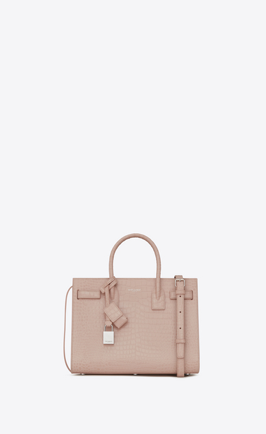 SAINT LAURENT Baby Sac de Jour D BABY SAC DE JOUR in pink crocodile embossed shiny leather a_V4