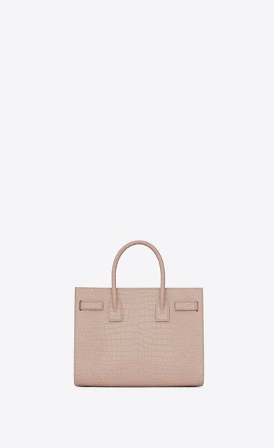 SAINT LAURENT Baby Sac de Jour D BABY SAC DE JOUR in pink crocodile embossed shiny leather b_V4