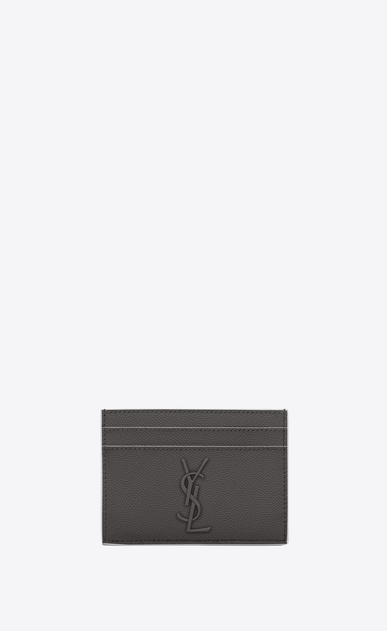 SAINT LAURENT Monogram Woman monogram credit card case in asphalt gray and white textured leather a_V4